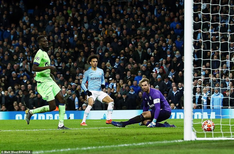 Leroy Sane picked out the bottom corner of the goal to put City 3-0 up in the tie and well on their way to victory