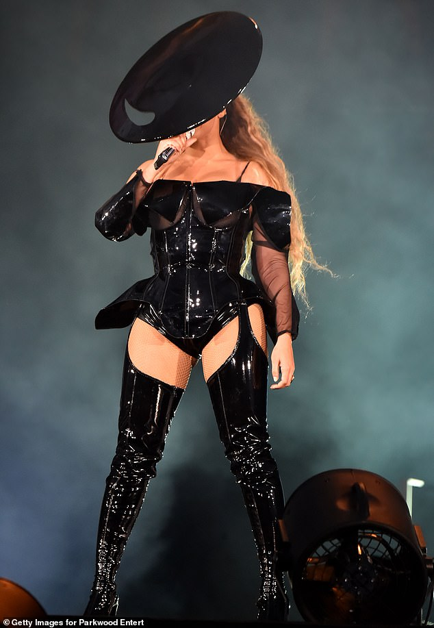 Stage presence! Mugler's work appeared on stage during Beyonce's On The Run II tour with husband Jay-Z, above on June 9 2018 in Glasgow, Scotland
