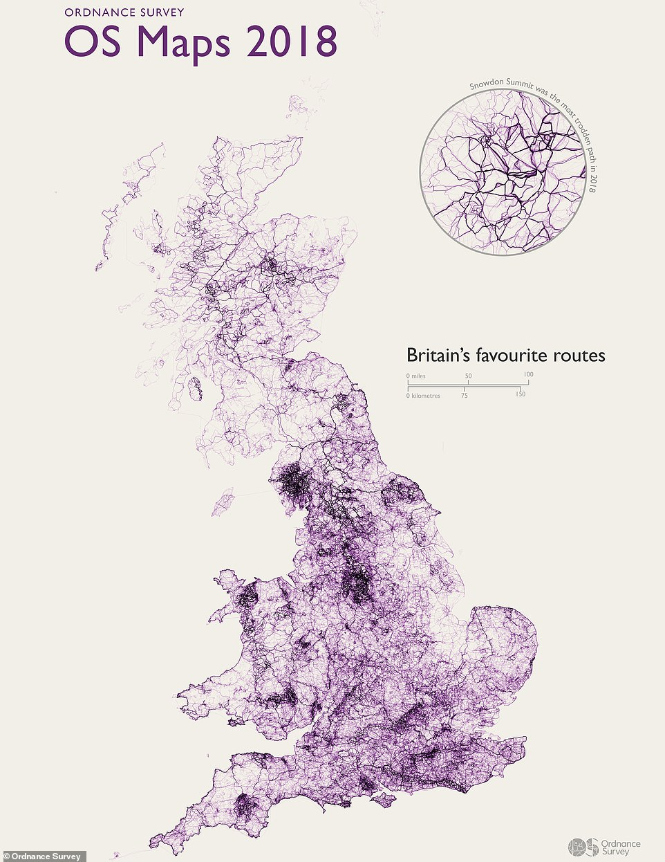 The Ordnance Survey analysed over 818,000 public walking and cycling routes created over the past year using its digital map and planning tool, OS Maps