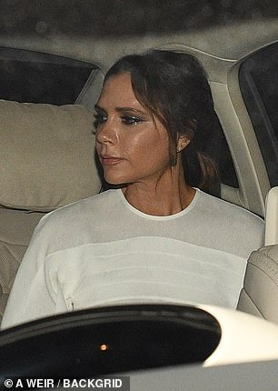 Heading home: Victoria looked in high spirits as she called it a night after the gala