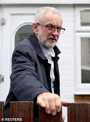 Mr Corbyn, pictured at his London home today, wants a General Election to be called and, if successful, would put forward his own plan to keep the UK in a customs union with the EU
