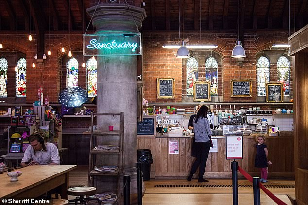 The community hub is inside the Victorian St James Church, where Sunday services are held
