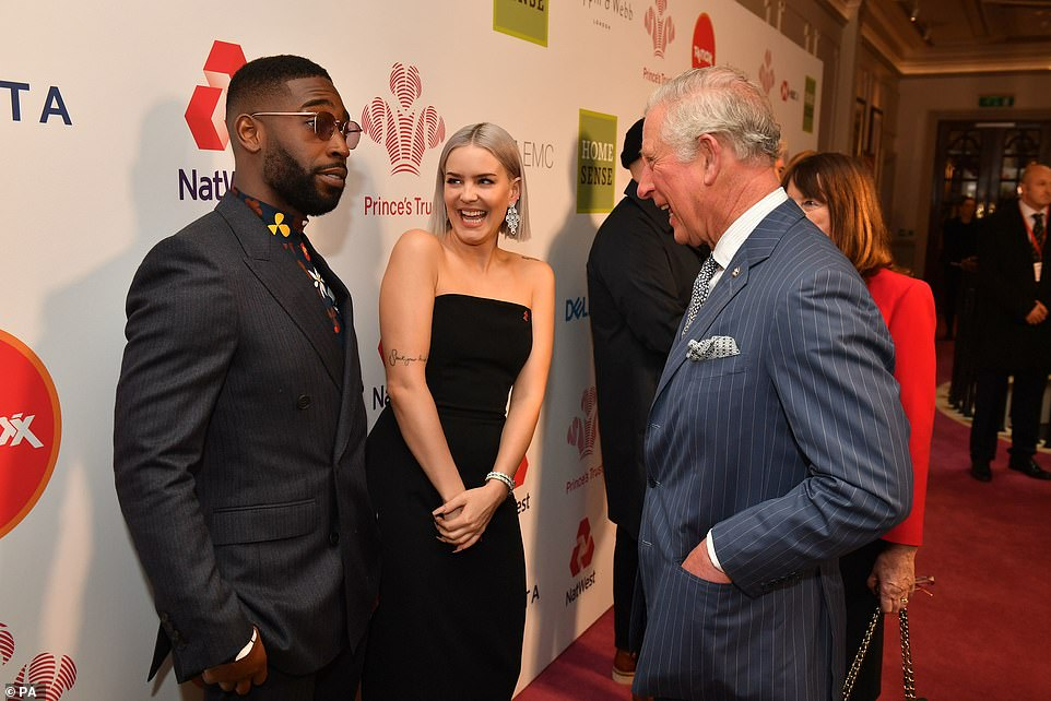 Greeting: The Prince greeted Anne Marie and Tinie Tempah at the award's line-up