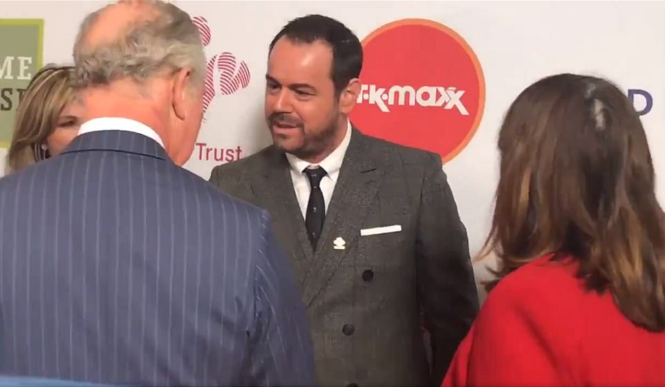 Lads: Danny looked delighted to be chatting with the Prince at the awards