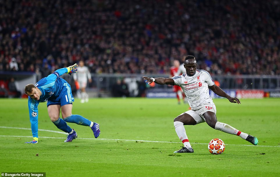 Mane then delicately chip the ball into the Bayern Munich net with the ball evading two defenders before reaching the goal