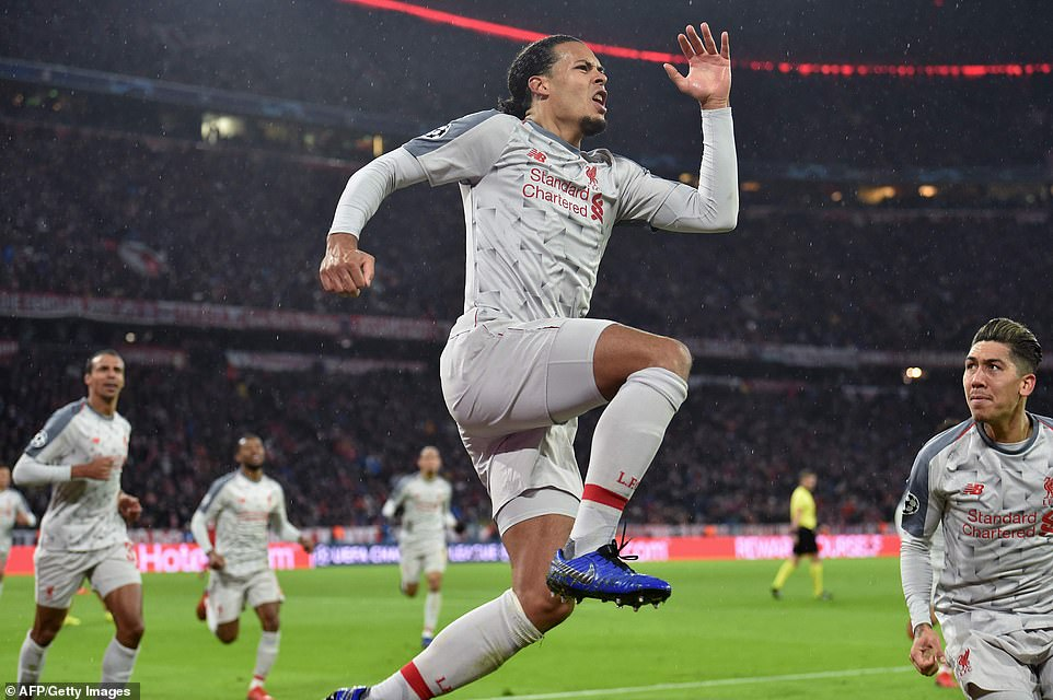Van Dijk leaps in the air to celebrate after getting Liverpool's second away goal on the night on Wednesday
