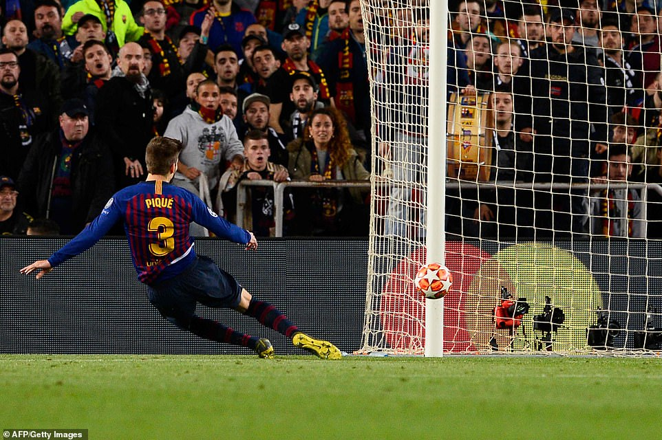 Marauding central defender Pique slid in at the far post to make it 4-1 to Barcelona and end all hope of a Lyon comeback