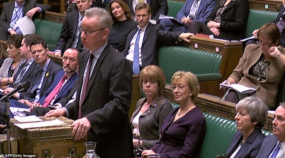 Mr Gove paid tribute to Mrs May's efforts in her negotiations and said: #She always, always, always acts in the national interest - we are lucky to have her'