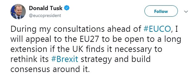EU Council President Donald Tusk announced his plan on Twitter early this morning