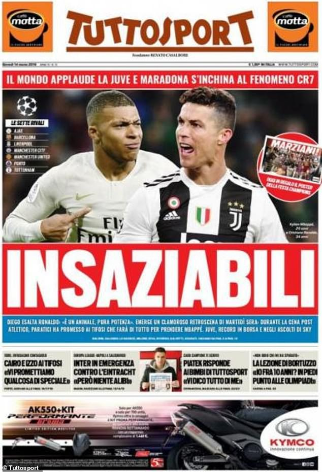 The Italian sports daily Tuttosport has revealed Juventus' interest in Mbappe