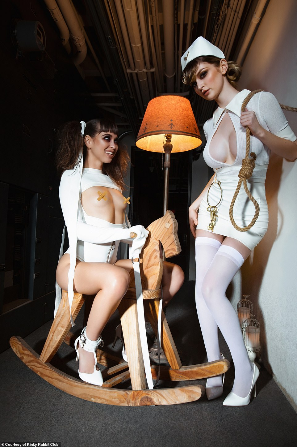 Some of the parties have a 'darker vibe', Alina says, including this asylum-themed party. But she says despite the dark feel, 'you step in and feel amazing'