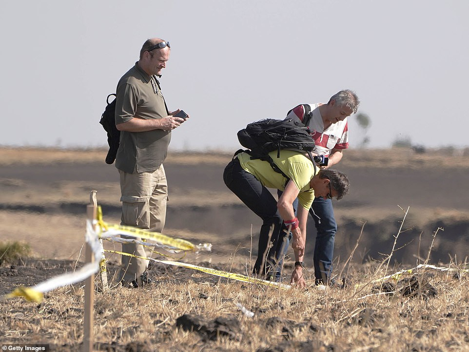 A small delegation from Austria pay respects to a mutual friend killed at the crash site of Ethiopian Airlines Flight 302 yesterday