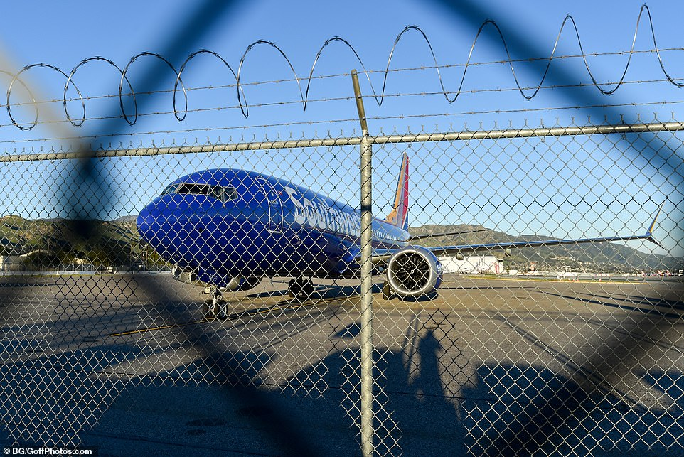 The US Federal Aviation Administration (FAA) issued orders on Wednesday for the Boeing 737 Max 8 jet model involved to be grounded. Pictured: A Southwest Airlines 737 Max 8 jet atBob Hope Airport in Burbank last night