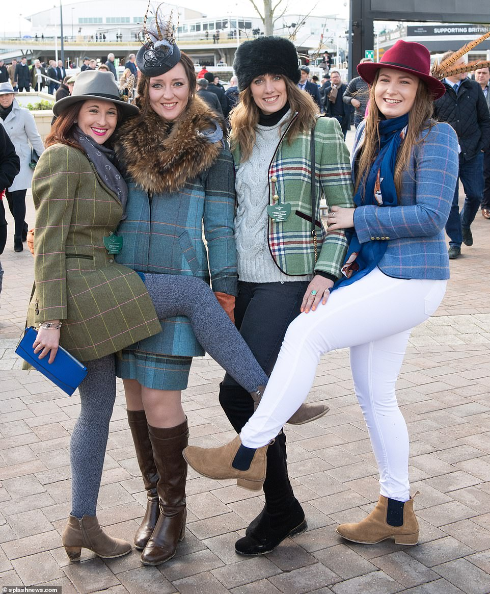 Check these girls out! This quartet all opted for check jackets and blazers - with one going the whole hog with a matching skirt