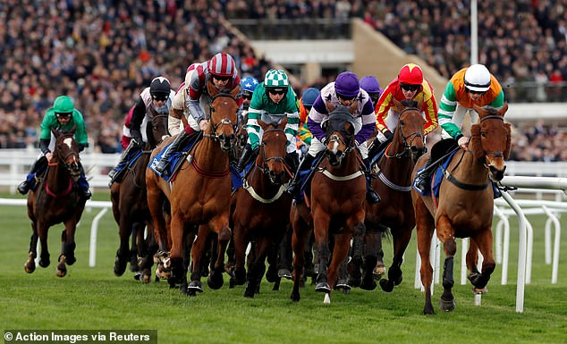 A wall of horses gallop towards the end stretch as Flemcara ridden by Aidan Coleman leads