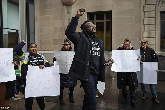 Protesters outside the Leighton Criminal Courthouse on Thursday to support Smollett