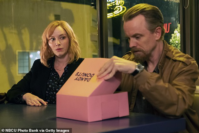 Day job:Hendricks as Beth Boland and David Hornsby as Boomer on Good Girls