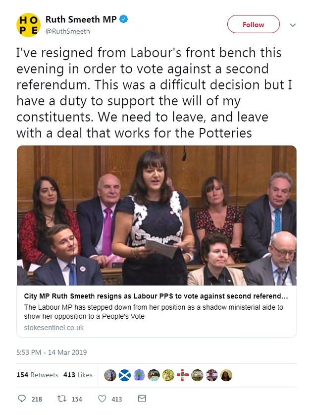 Stoke MP Ruth Smeeth was one of 17 Labour MPs who defied the whip to vote against moves to allow a second referendum. She promptly resigned from a minor shadow ministerial position