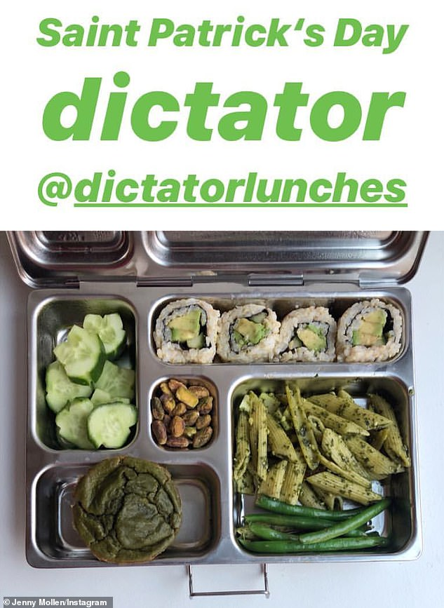 What a setup:She also shared the all-green meal she had prepared for her children in keeping with a St. Patrick's day theme - an array including cucumber rolls and pesto pasta