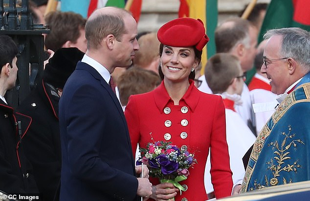 The Duke and Duchess of Sussex have separated their staff from that of Kate and William, pictured at Westminster Abbey on Monday