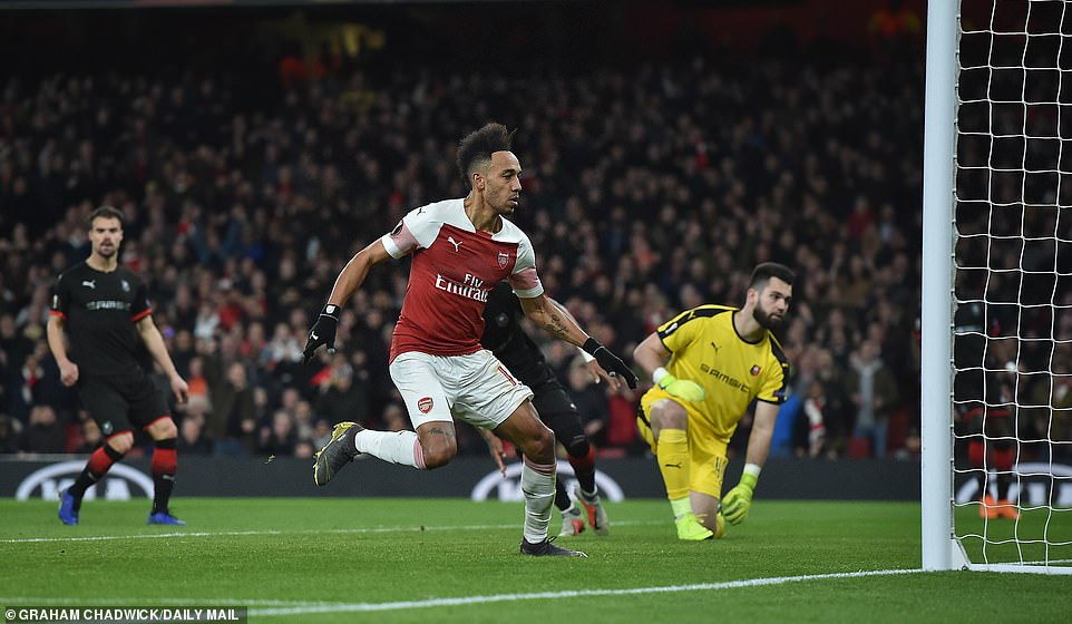 Pierre-Emerick Aubameyang scored twice for Arsenal as they reached the Europa League quarter-final stages