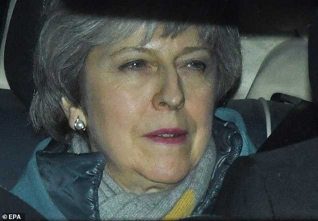 Theresa May is driven away from the Houses of Parliament on Thursday night. She is said to have given a dressing down to Cabinet colleagues who abstained on the No Deal motion