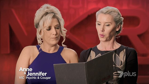 Frisky! Jennifer, who is 16 years older than Mick, proudly describes herself as a 'cougar' on My Kitchen Rules. She is pictured on MKR wearing the same dress she wore on Thursday night