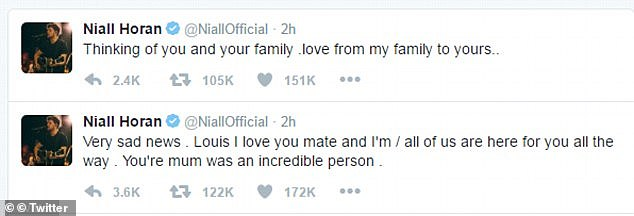 Louis' bandmates and stars including Cheryl Cole and Simon Cowell sent heartfelt condolences after the death of his mother