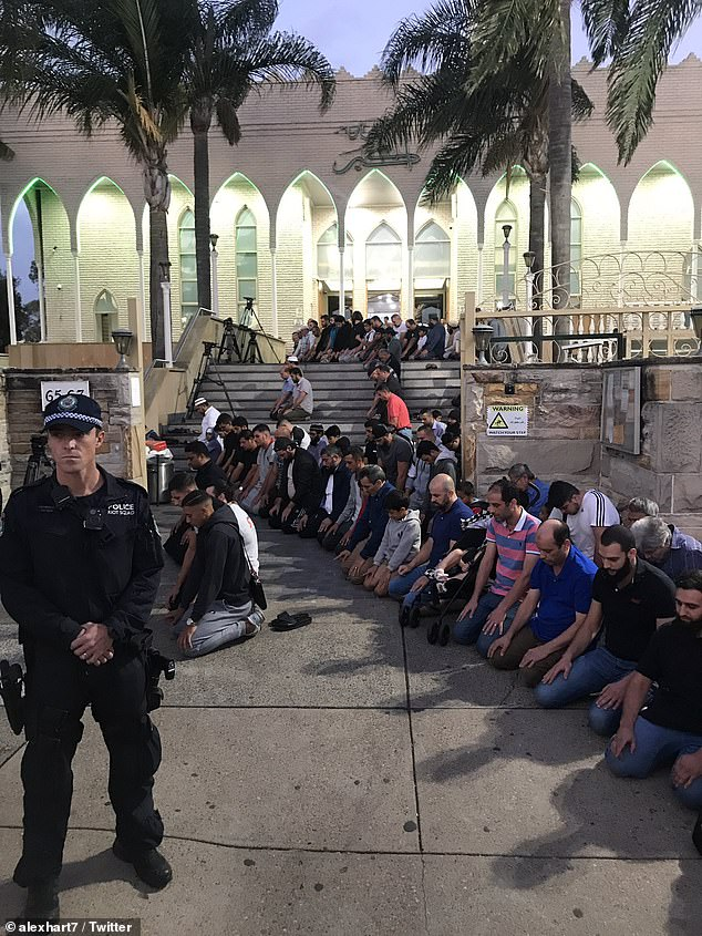 Dozens of police surrounded the mosque before the prayers began at 7.17pm to ensure everyone was safe