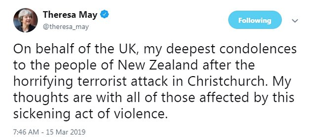 Mrs May and her ministers have been tweeting about the horrifying attacks as the UK woke up to the news