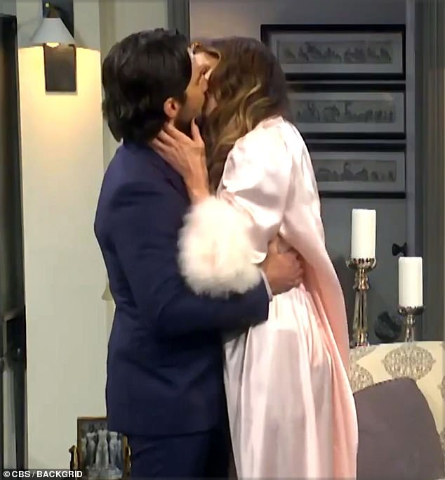 Raunchy: James Corden transformed into a secret lover for his latest turn in The Bold and The Lyrical on The Late, Late Show, starring a raunchy Kate Beckinsale and Milo Ventimiglia (above)