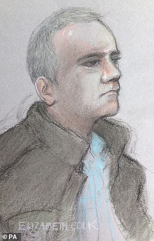 A court sketch of Seed, who was convicted nearly four years after the raid