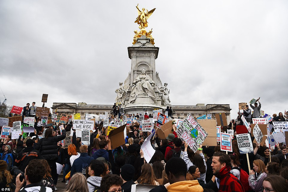 The students' calls come after a UN report last year which warned that limiting global temperature rises to 1.5C above pre-industrial levels (Buckingham Palace pictured)