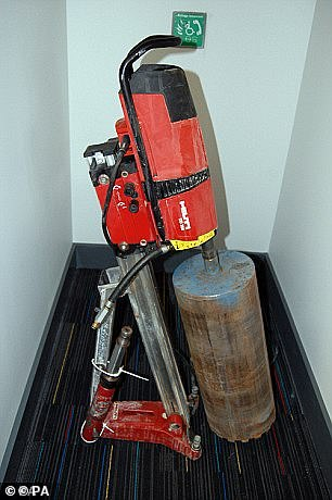 The industrial drill used in the break-in
