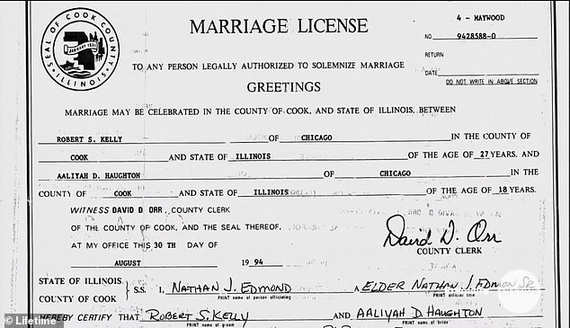 Kelly's marriage certificate which states Aaliyah was 18 despite the singer being just 15