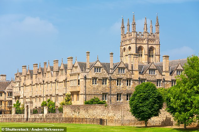 The claims were made as Oxford and Cambridge Universities face growing pressure to let in greater numbers of students from diverse backgrounds. Oxford University's Merton College is pictured above [File photo]