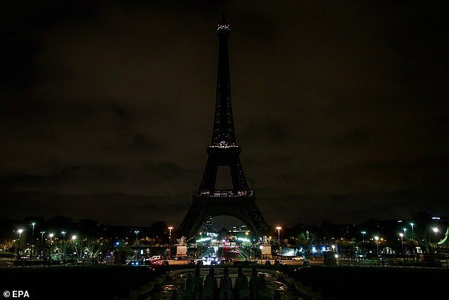 Other countries across the world followed suit, with the Eiffel Tower in Paris also dimming its lights in respect for the dead