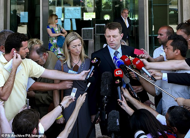 Gerry and Kate McCann, the parents of Madeleine McCann, talk to the press after attending the libel case against former Portuguese police chief Goncalo Amaral at Lisbon's Palace of Justice