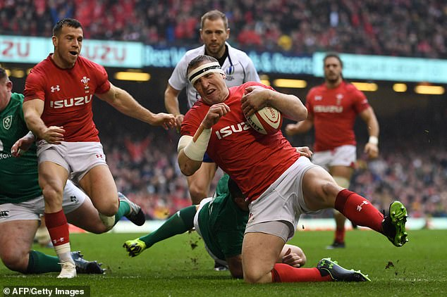 Parkes crossed the line after Wales won an attacking line-out straight from kick-off