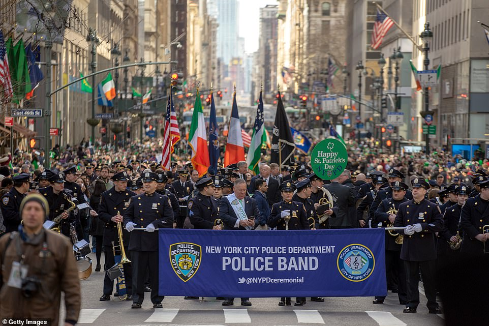 The New York Police Department Band had a huge presence at the parade and led with their huge banner