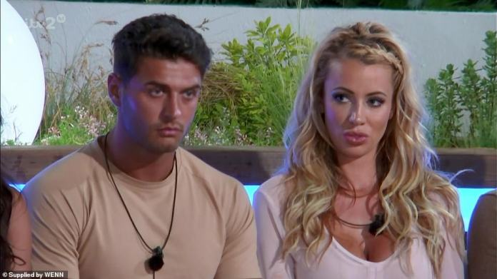 Mike Thalassitis pictured with Jessica Shears, after they were both eliminated from the Love Island are villa at the same time during the series in 2017