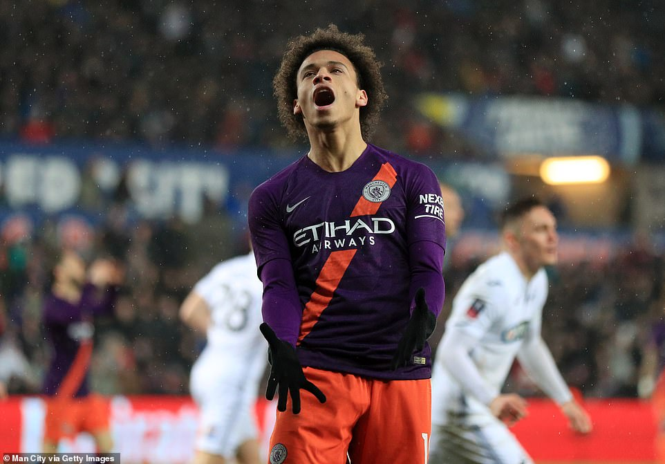 Sane shows his frustration after he missed an opportunity to find the net for Manchester City
