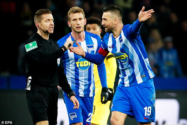 Hertha No 19 Vedad Ibisevic was sent off in the dying seconds after throwing the ball as Burki