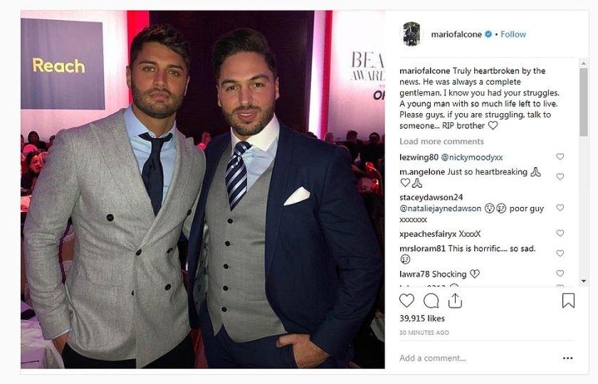La única forma de hacerlo es la estrella de Essex, Mario Falcone, compartió sus condolencias en Instagram con una foto de la pareja. Alentó a otros a hablar sobre problemas de salud mental.