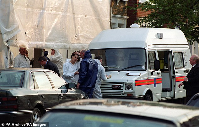 The murder prompted an enormous inquiry (pictured are officers at the scene) by Scotland Yard and resulted in unemployed loner Barry George being jailed for her murder in July 2001.He was granted a retrial on appeal, and received a unanimous acquittal by a jury in August 2008 after a retrial