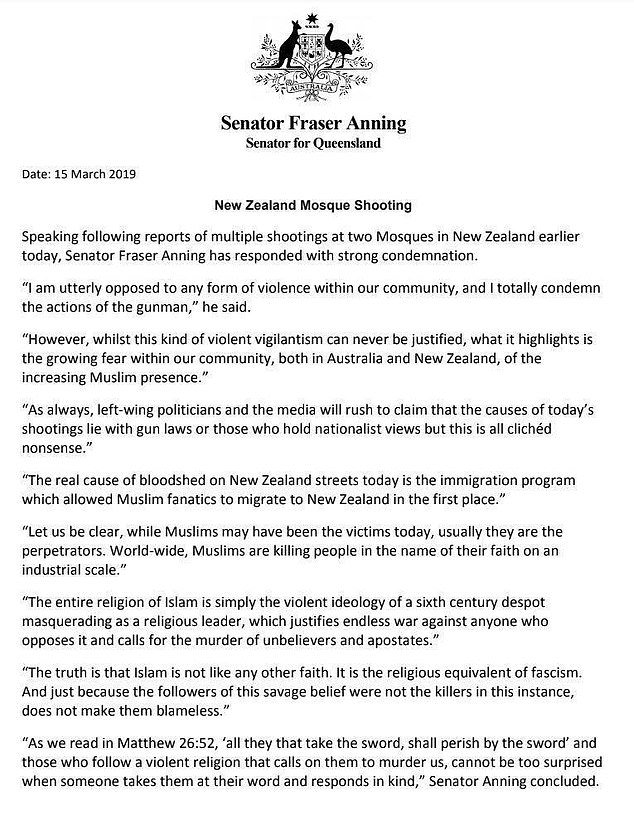 The egging came after Mr Anning released a controversial response in the wake of the Christchurch Mosque massacre on Friday