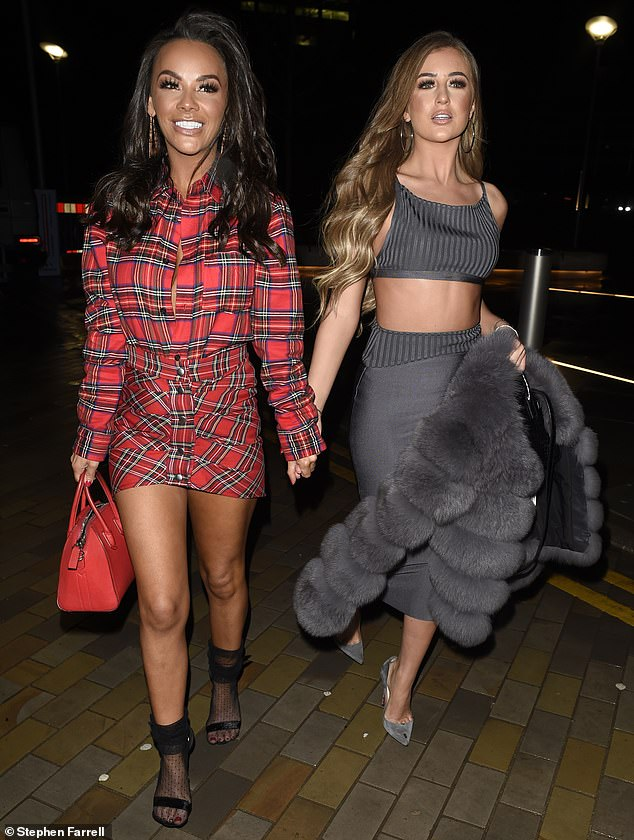 Girls night!Georgia Steel, 20, and Chelsee Healey, 30, put on a sultry display as they headed out to Menagerie restaurant in Manchester on Friday night