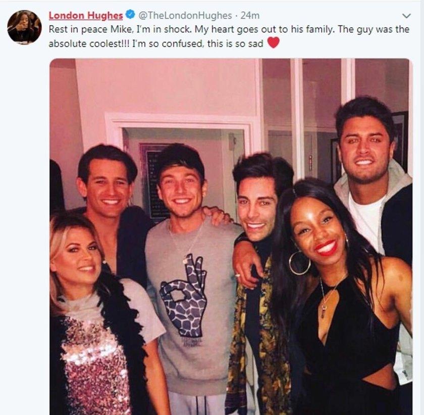 El comediante London Hughes, que protagonizó Celebs Go Dating junto a Mike, rindió homenaje a su co-estrella en Twitter