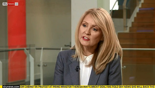 Esther McVey, who resigned in protest at Mrs May's agreement, said today that voting with the Prime Minister is now her only option as 'the rules have changed'