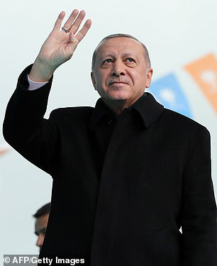 Recep Tayyip Erdogan (pictured) referenced the doomed Gallipoli campaign during World War I by saying anti-Muslim visitors would be 'returned in coffins'